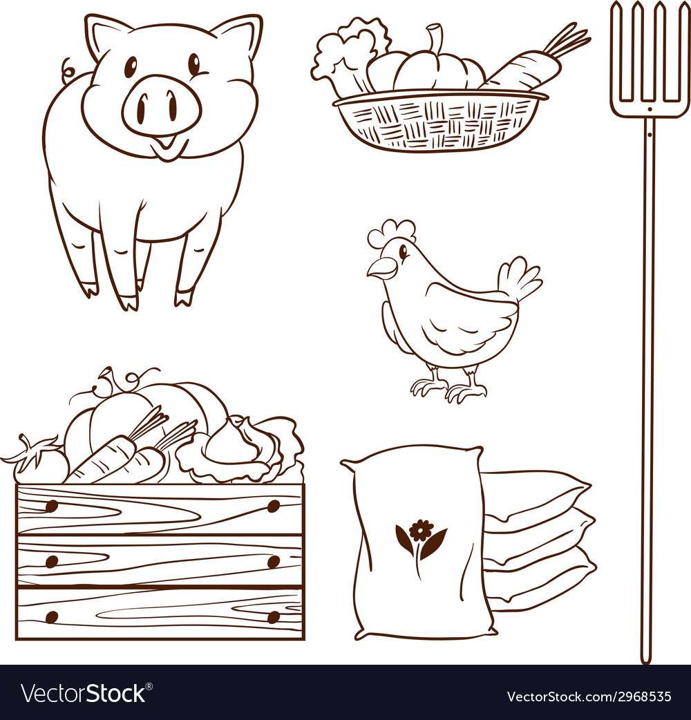 A simple sketch of the farm animals and the Vector Image for Simple Farm Sketch  45ifm
