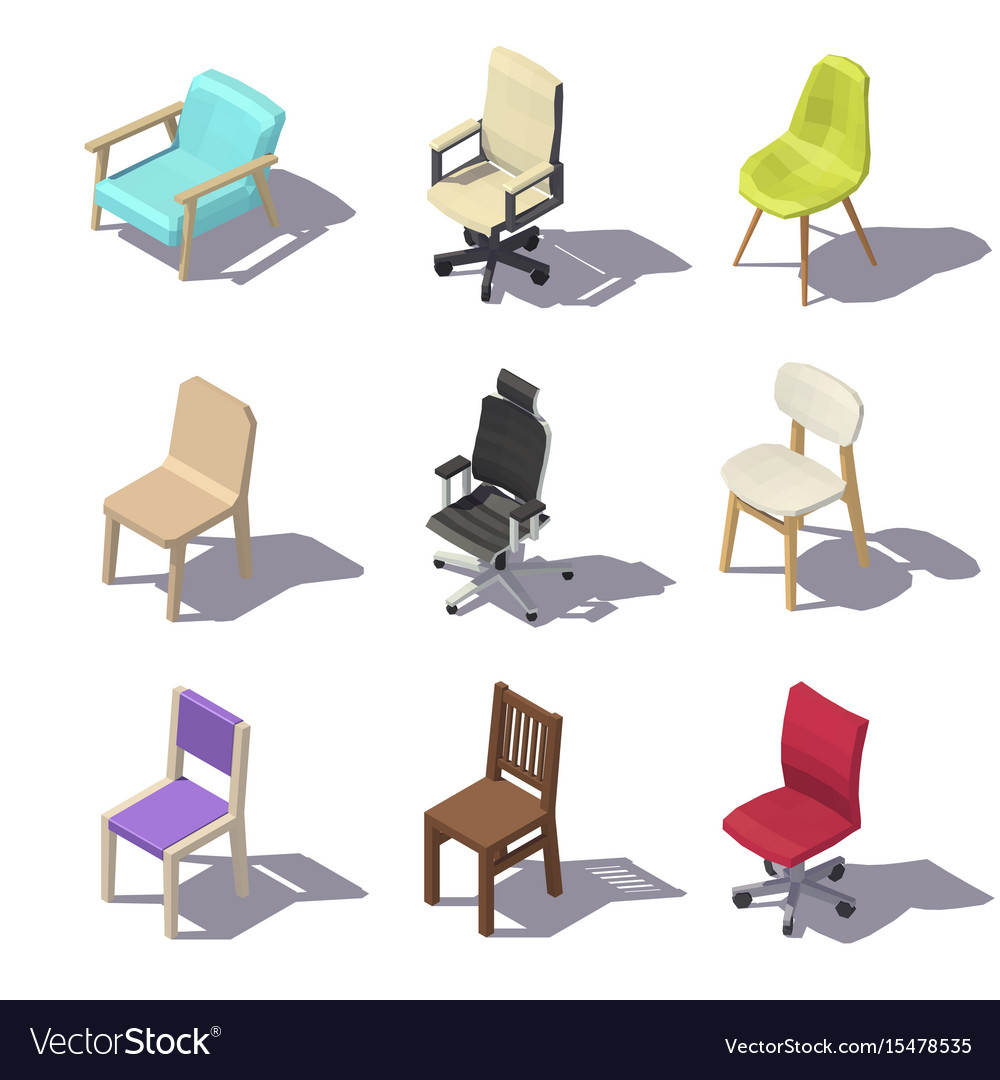 isometric office furniture vector collection. Isometric Office Chairs Vector Image Furniture Collection F