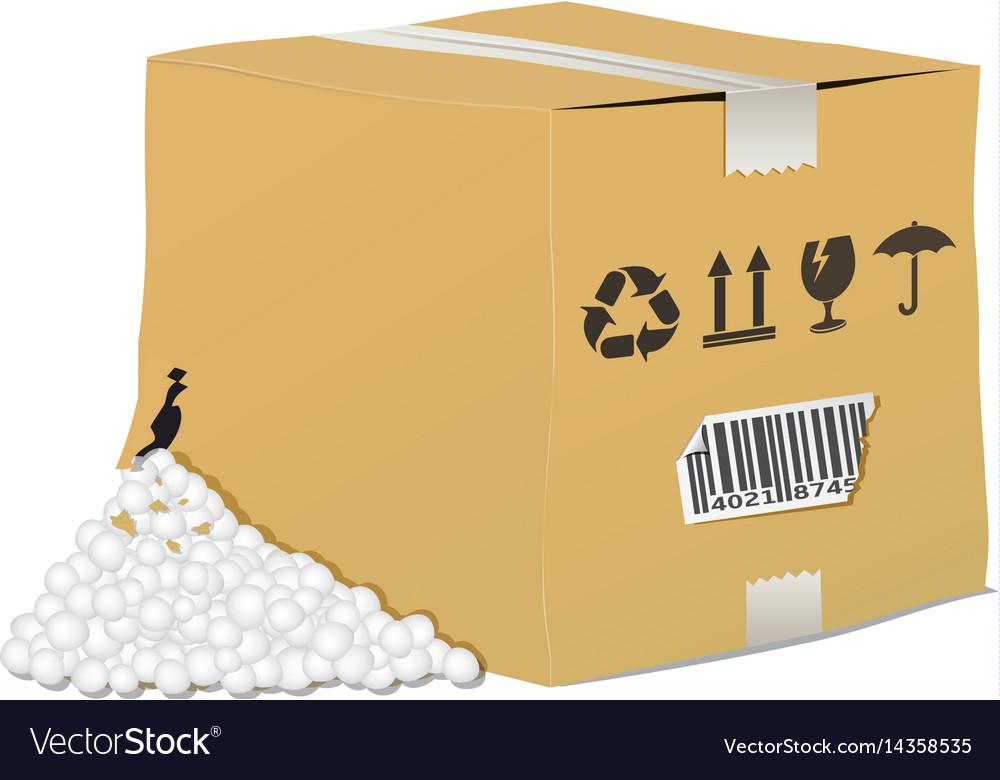 Torn and damaged cardboard box vector image