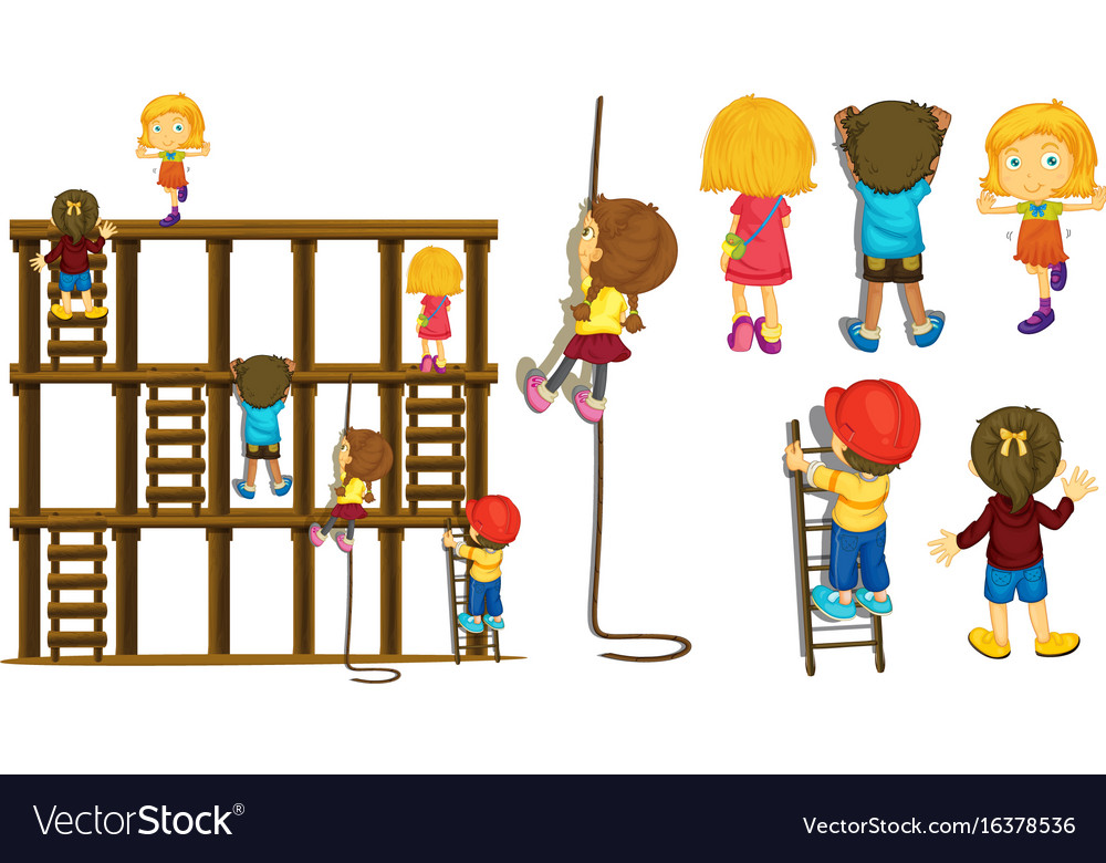 Children climbing up ladder and rope vector image