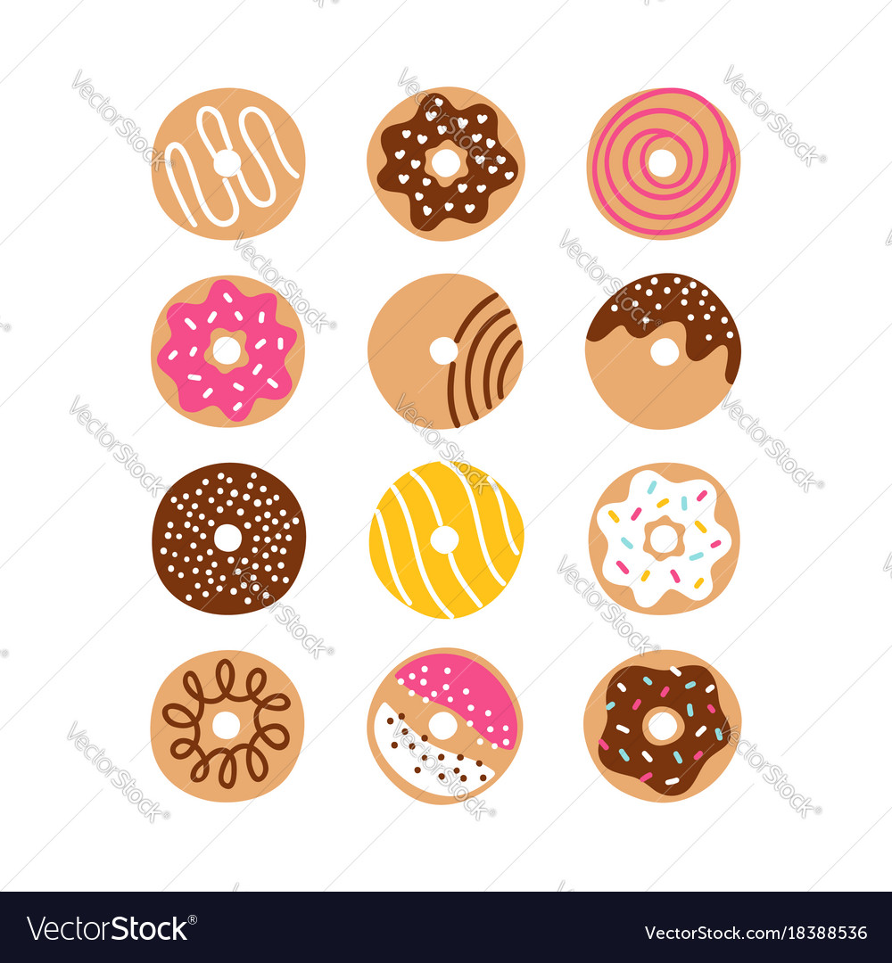 Doodle donuts set vector image
