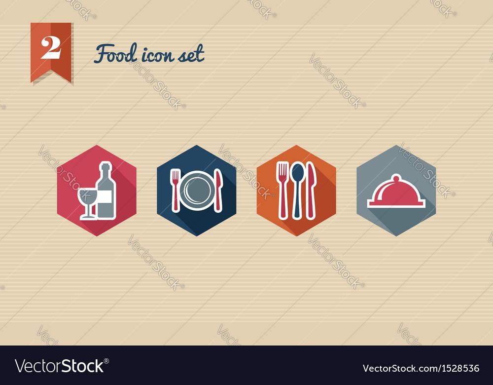 Restaurant food flat icons set vector image