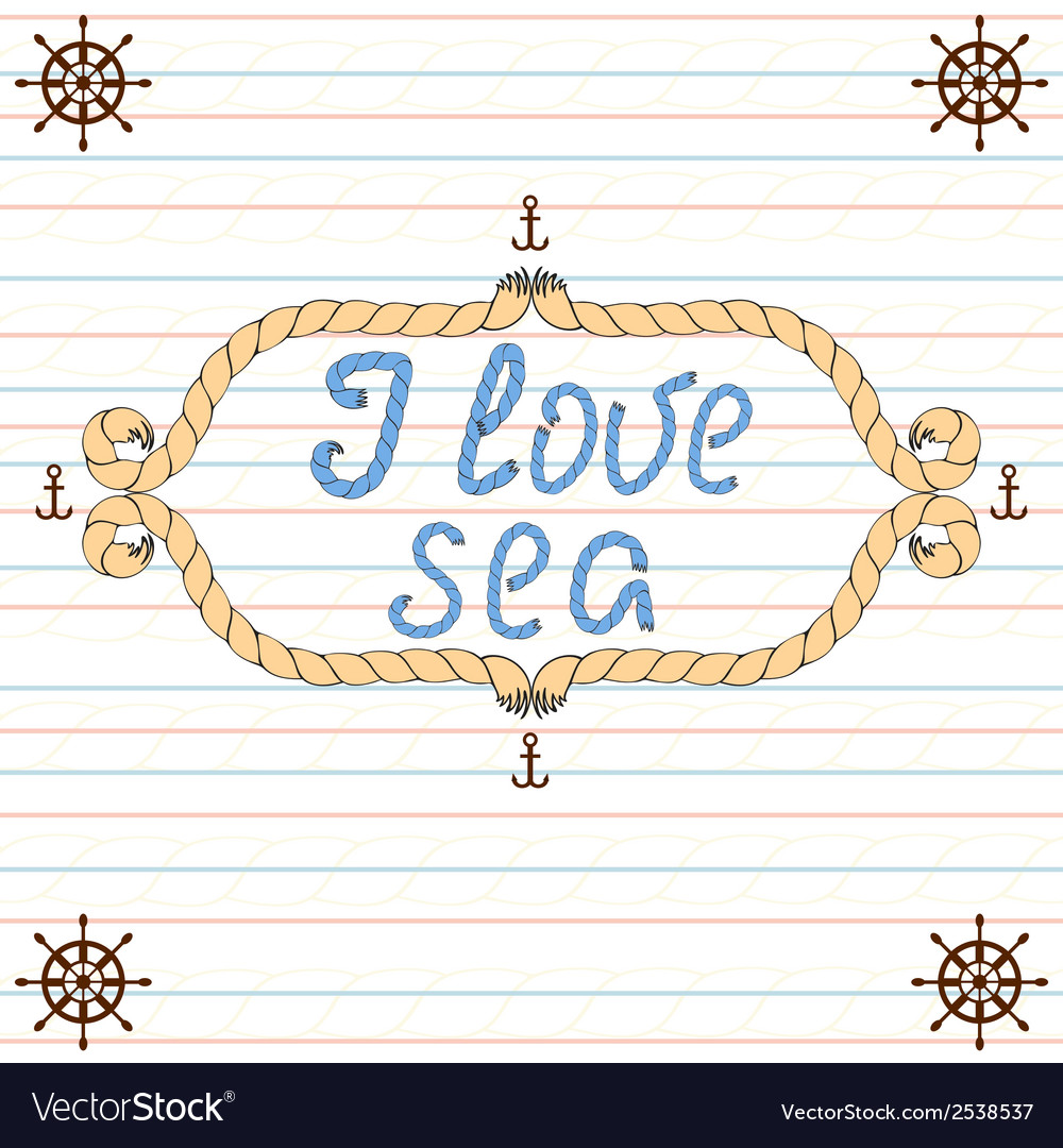 Frame i love sea vector image