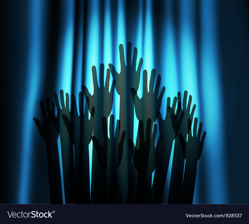 Theatre curtain and hands vector image