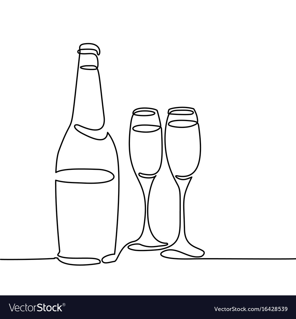 Champagne bottle and two glasses isolated vector image