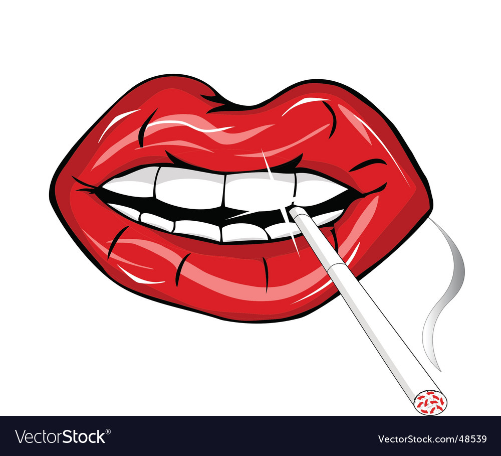 Cigarette in mouth vector image
