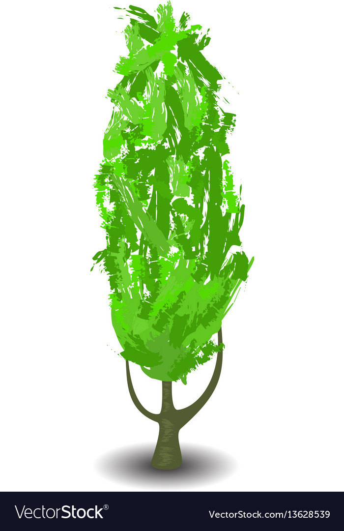 Green tree with brush textured crown vector image