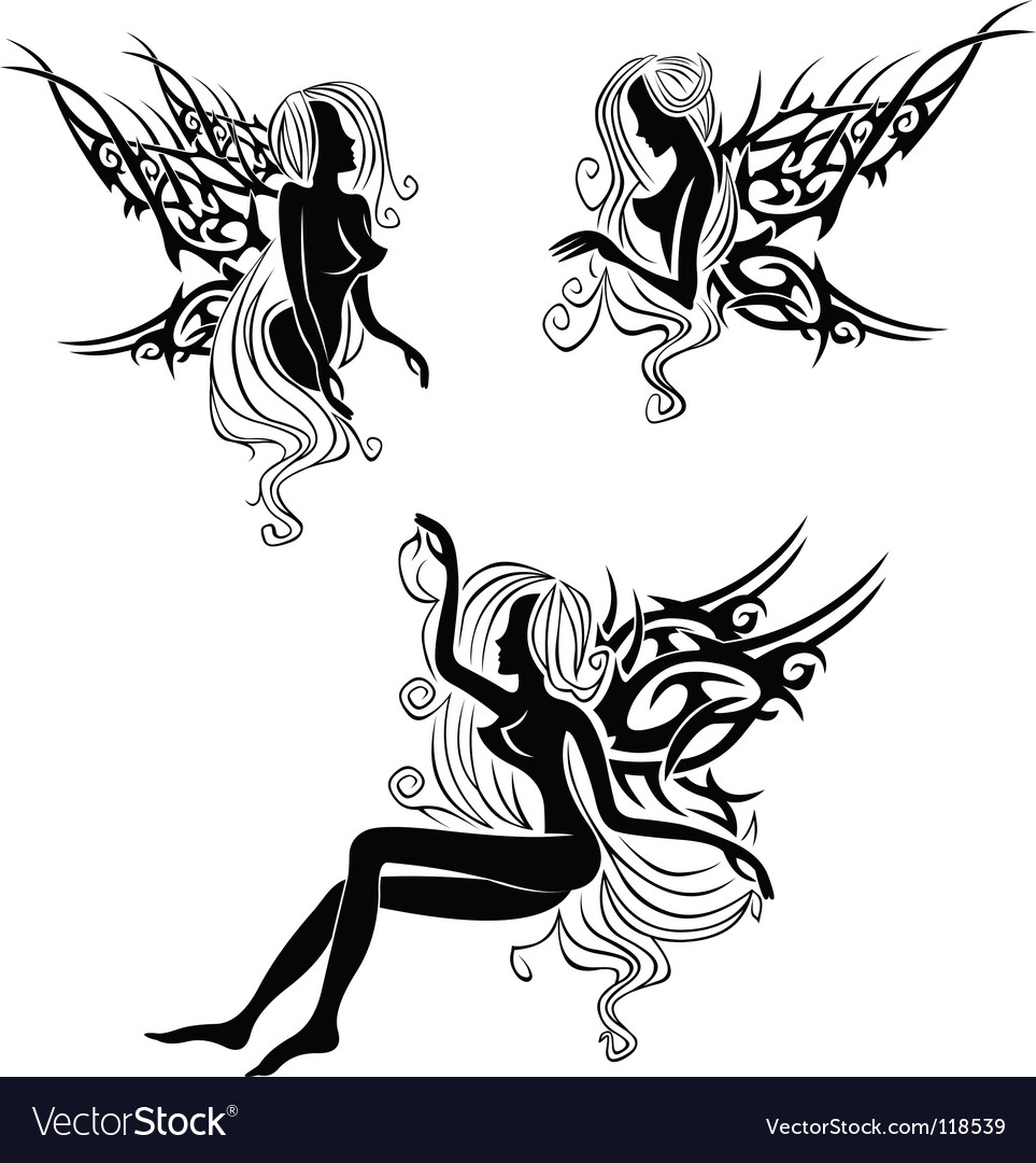 Tattoo with fairies or elves vector image