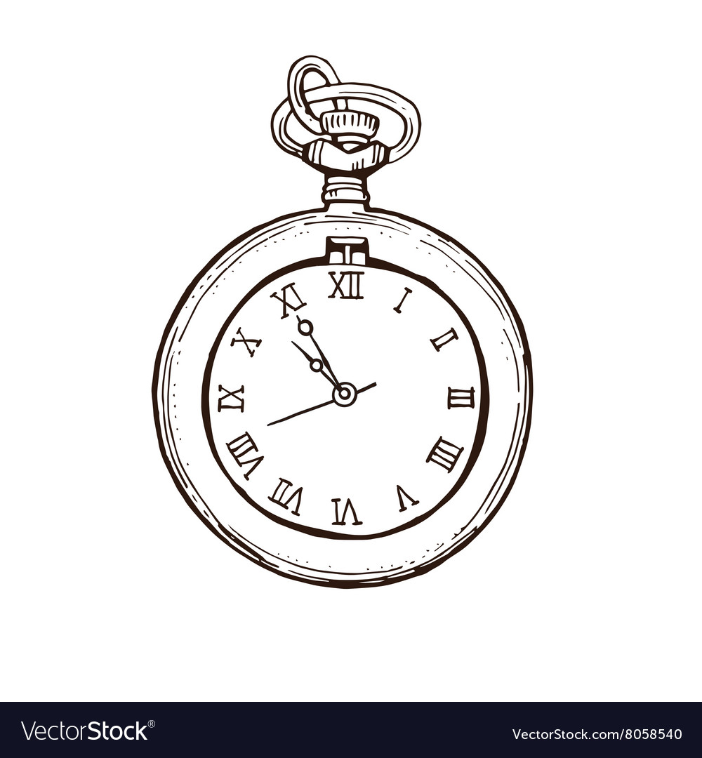 Open Pocket Watch In Vintage Style Hand drawn vector image