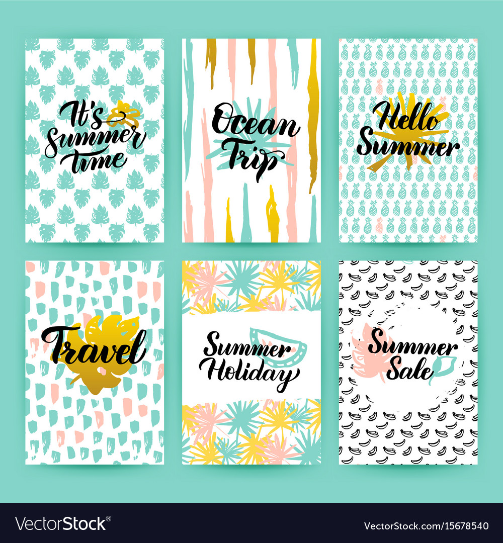 Summer time trendy posters vector image