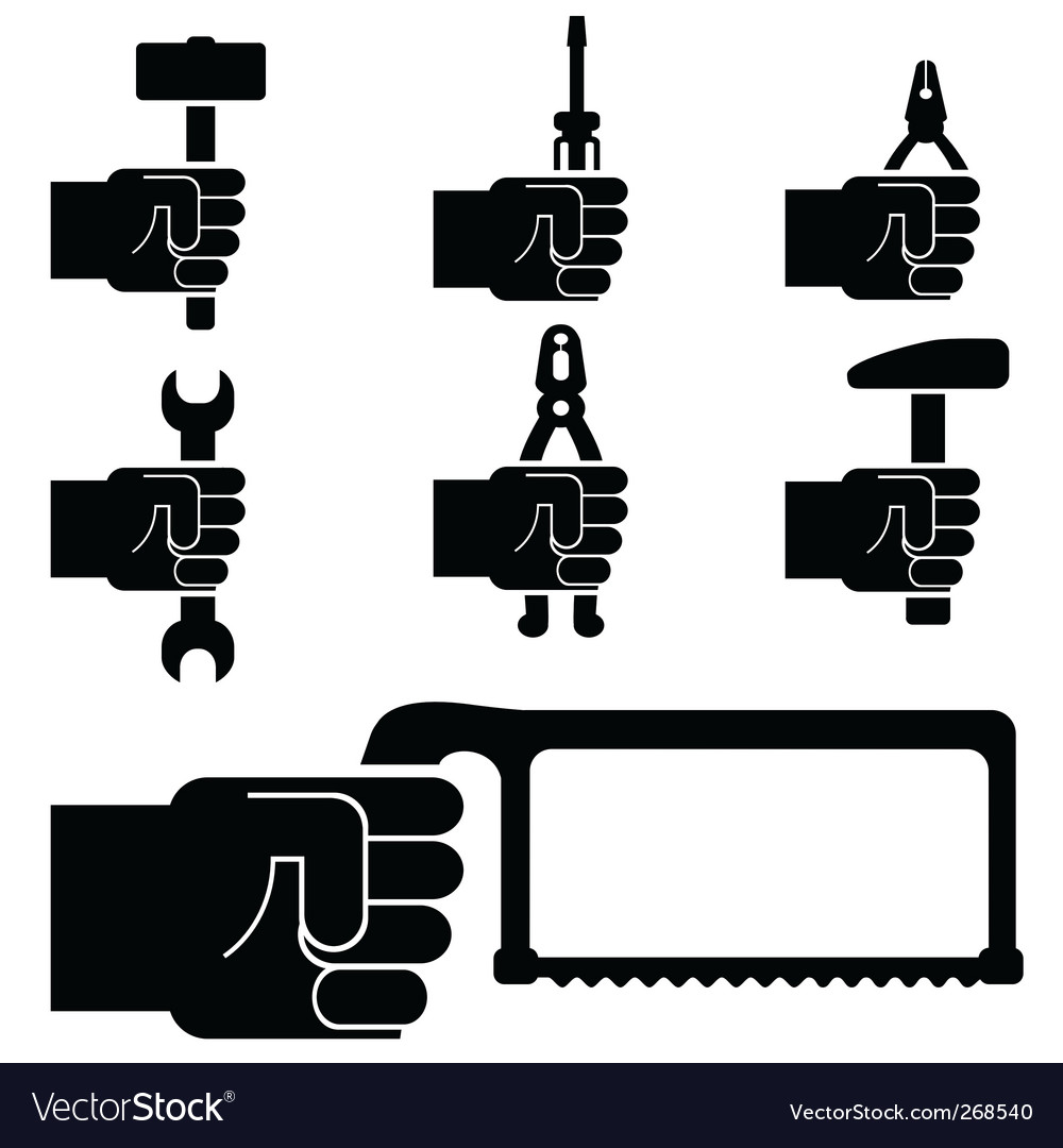 Tool holding hand vector image