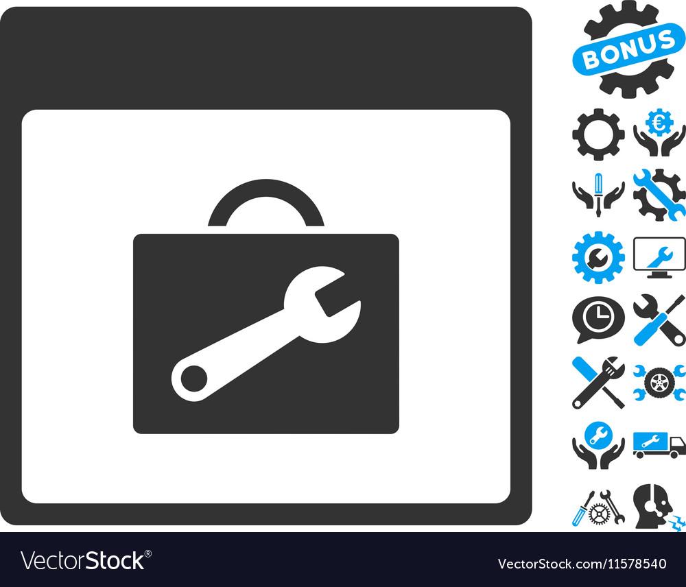 Toolbox Calendar Page Icon With Bonus vector image