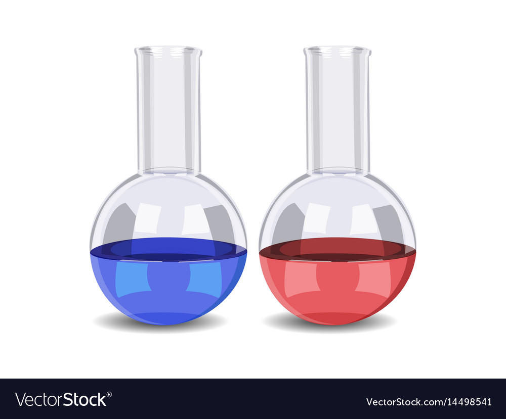 Test-tube with liquid isolated vector image