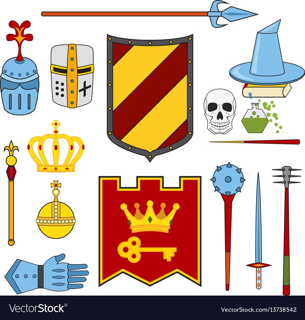 Knight and magic set - lance shield knights vector image