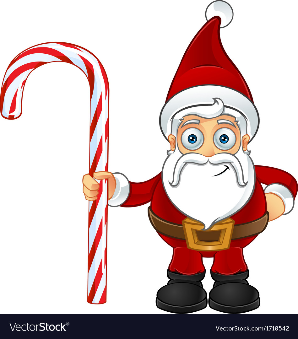 santa claus holding candy cane royalty free vector image