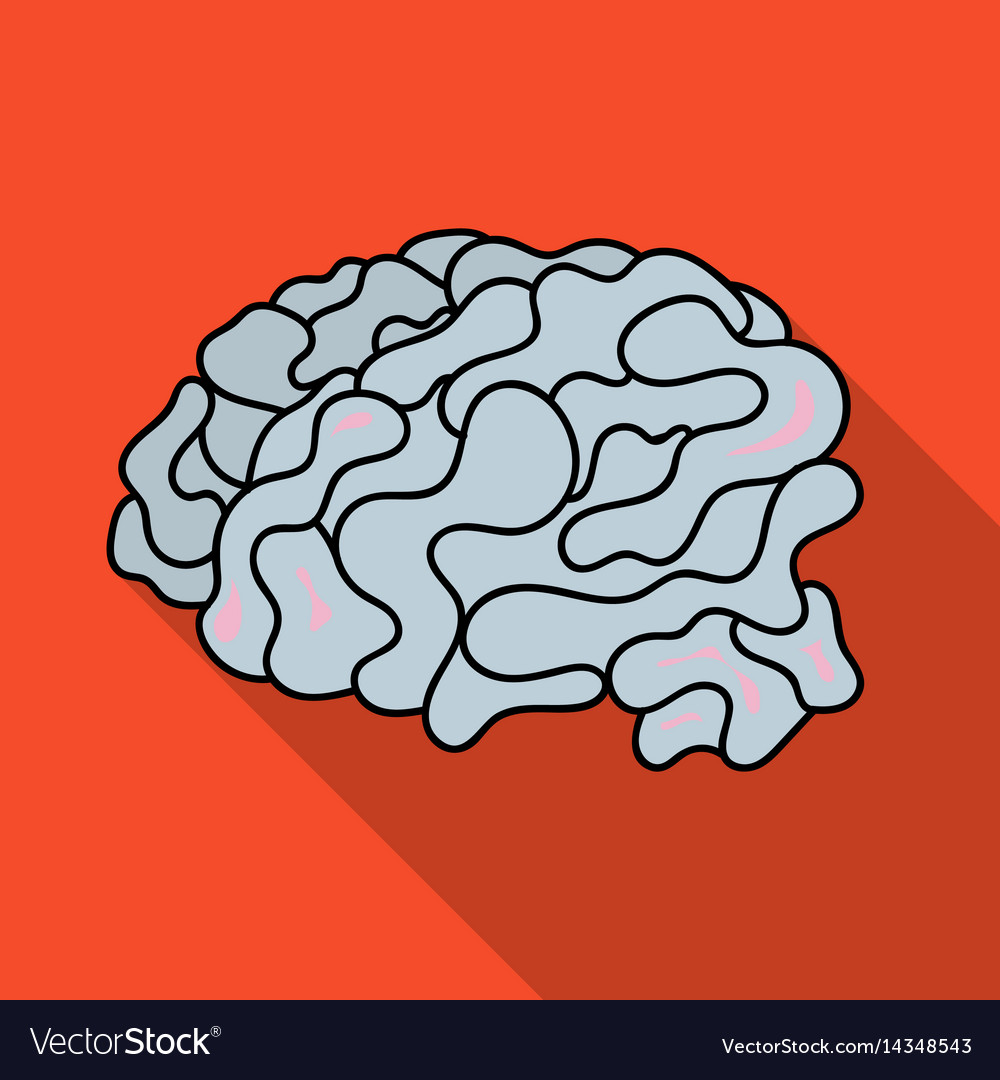 Brain in the virtual reality icon in flate style vector image