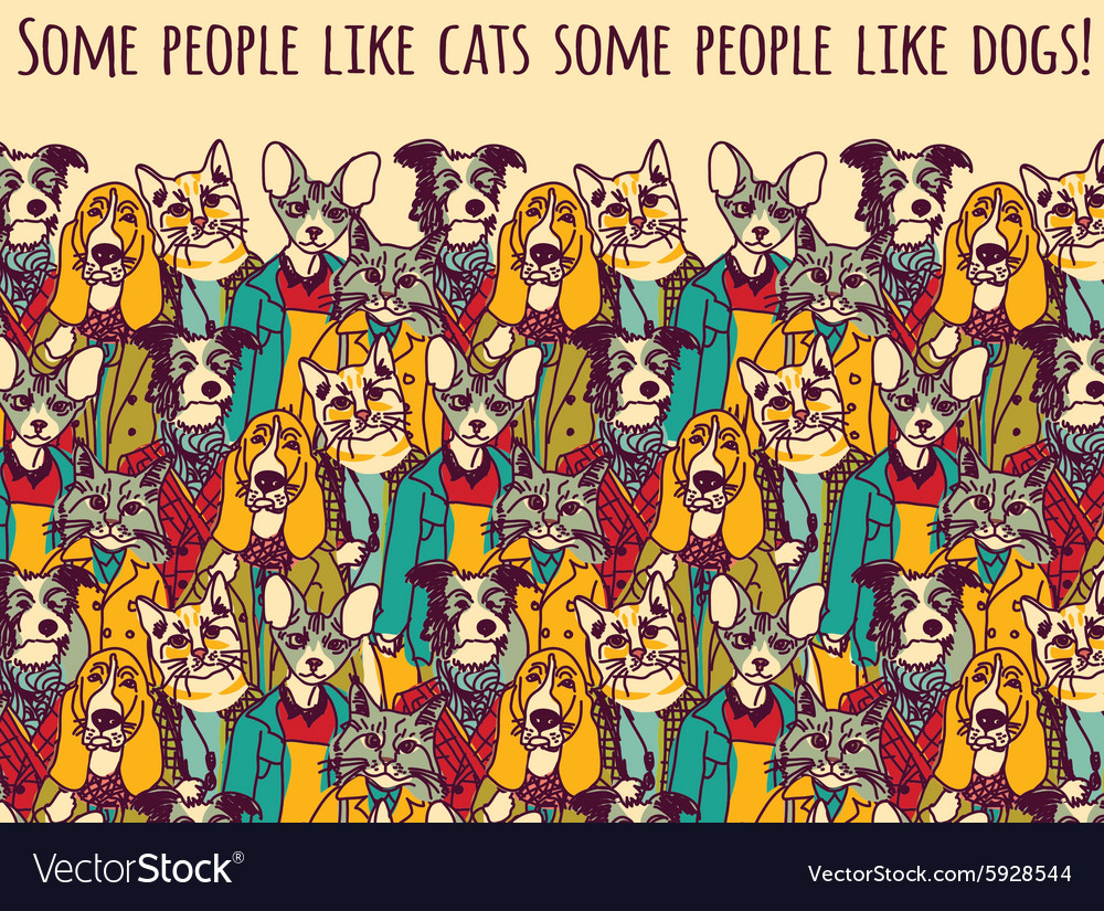 Color cats like - People Like Cats And Dogs With Sign Color Vector Image