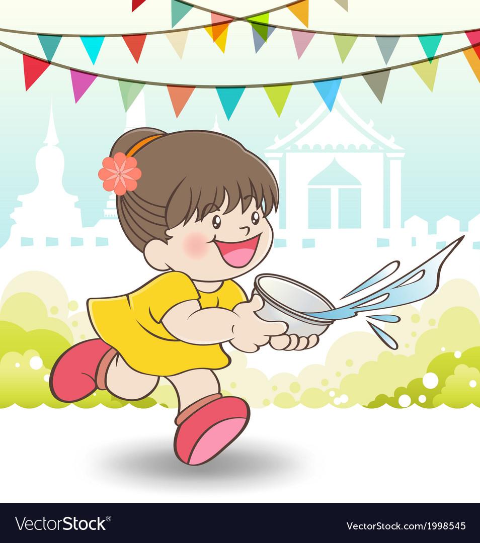 Young Asian girl playing Songkran Festival vector image