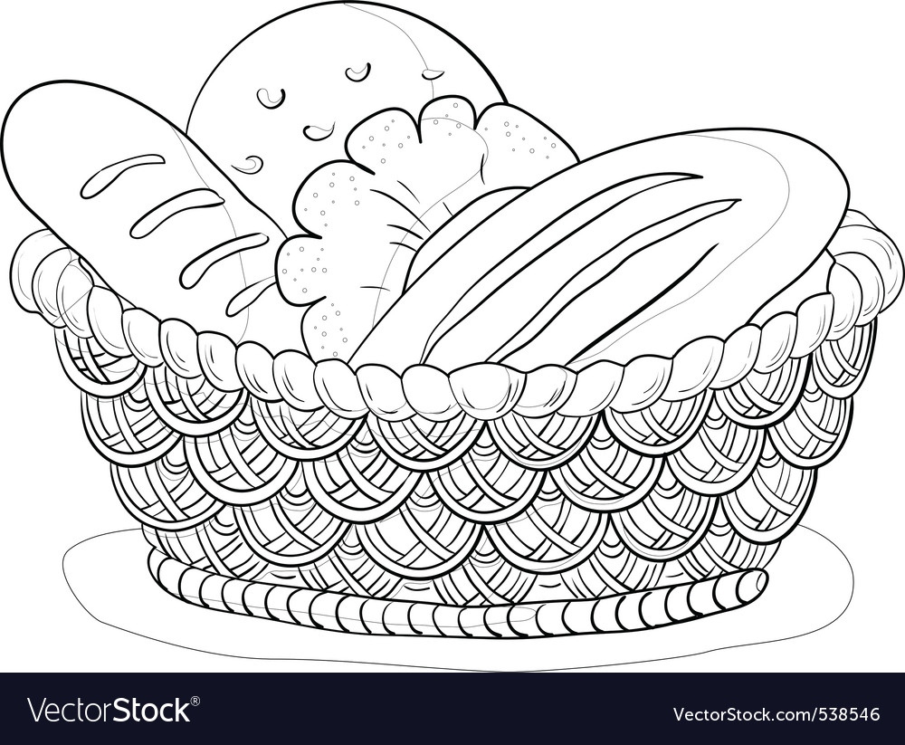 Bread in a basket contour vector image