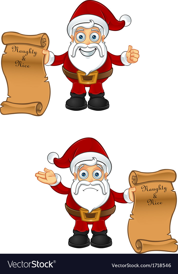 Santa Claus Naughty Nice List vector image