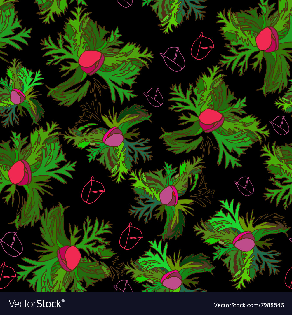 Vivid seamless pattern with bud anemone on black vector image