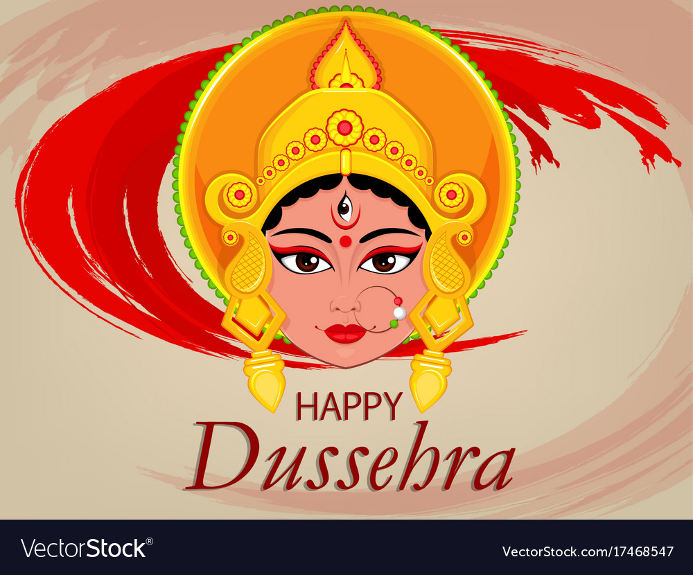 Happy dussehra greeting card maa durga face for vector image kristyandbryce Images
