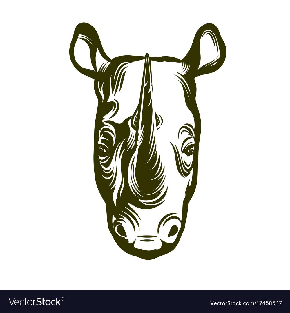Head of african rhino vector image