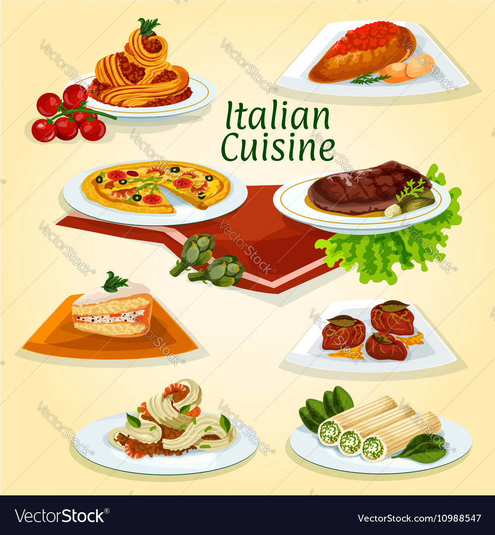 Italian cuisine dinner icon with popular dishes vector image