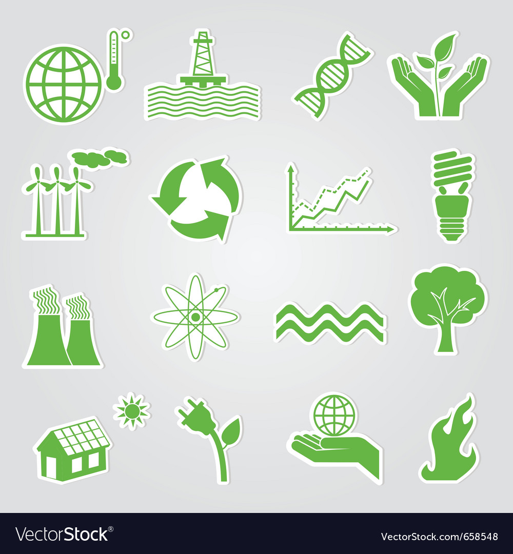 Earth conservation and ecology icon set vector image