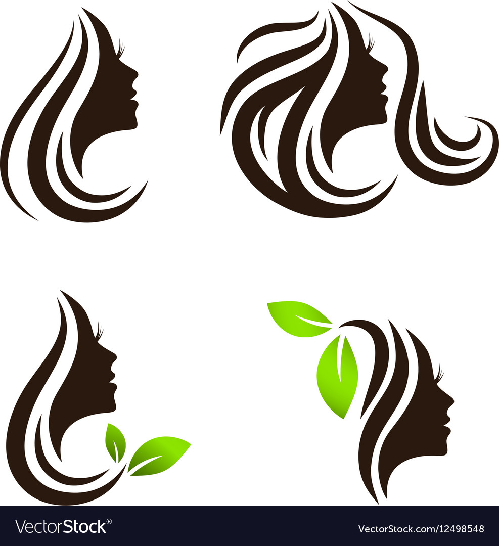 woman beauty and spa salon logo design set vector image