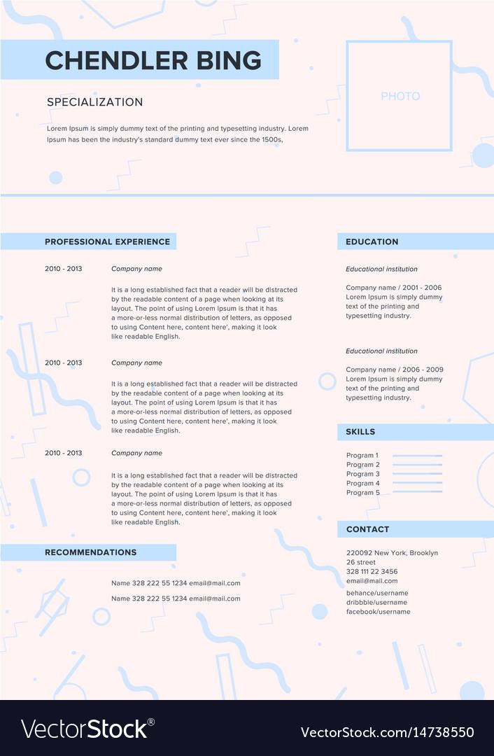 cv template minimalist resume web page job vector image - Minimalist Resume Template
