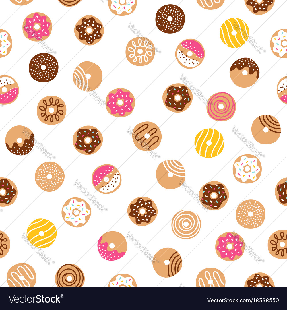 Doodle donuts fun pattern vector image