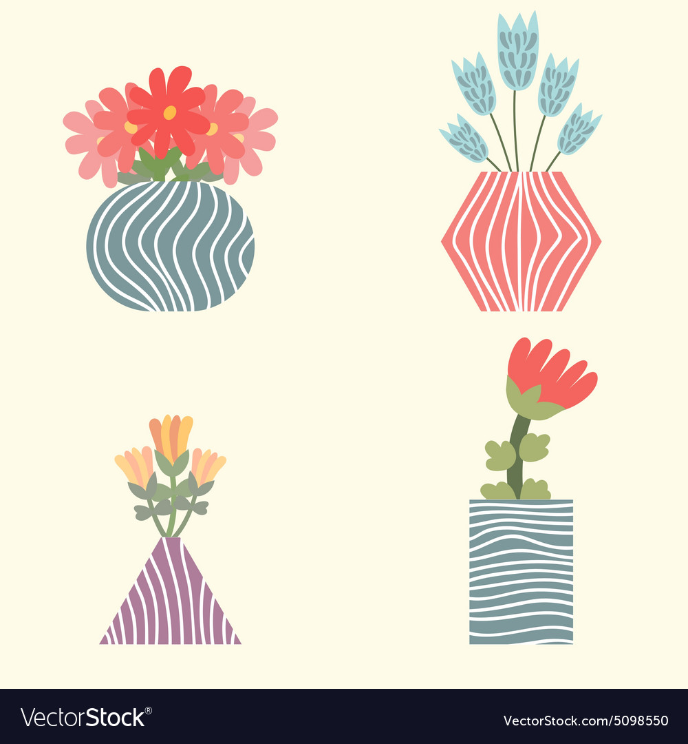 Set of flowers in vases royalty free vector image set of flowers in vases vector image reviewsmspy