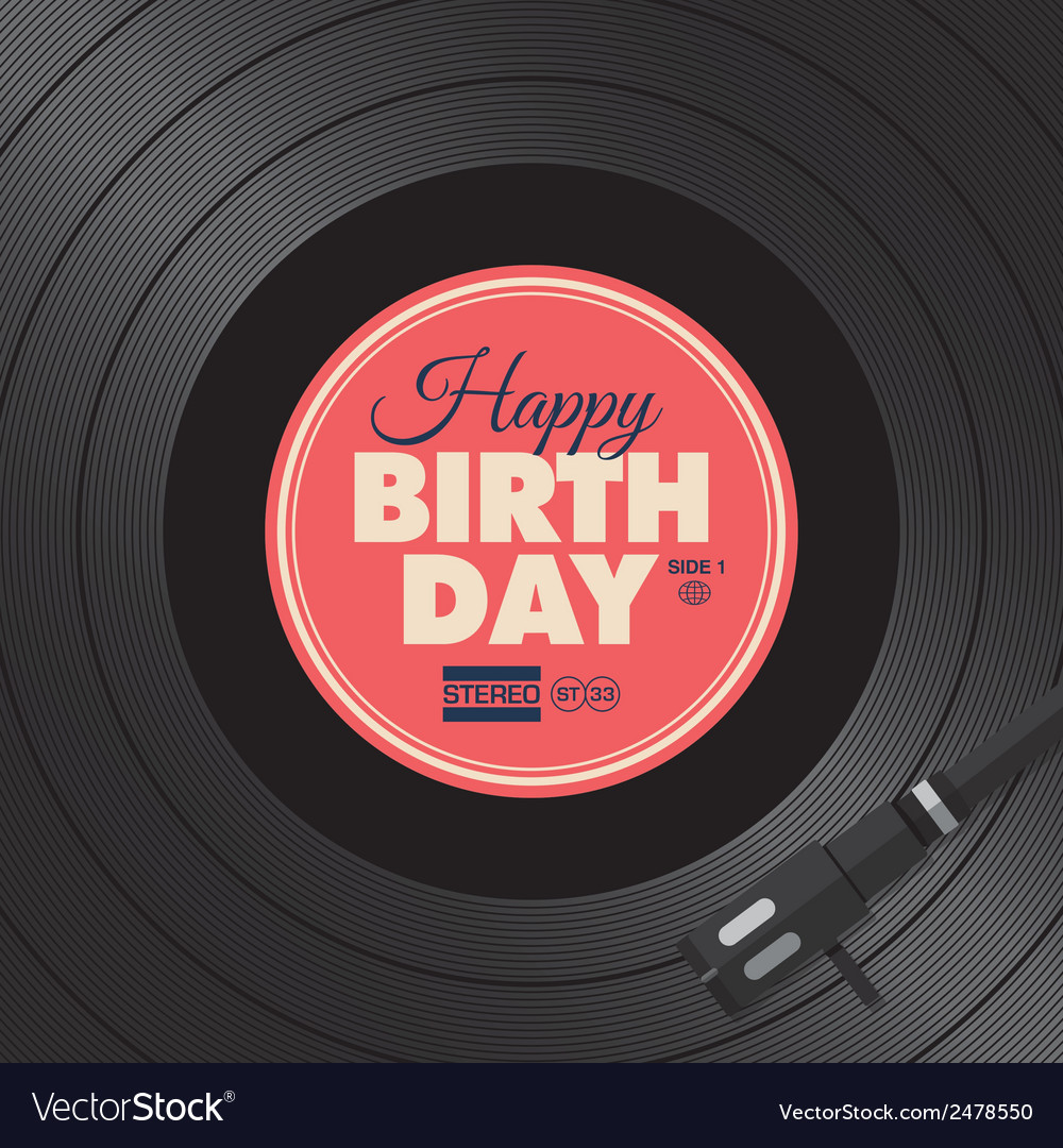 Vinyl happy birthday red card vector image