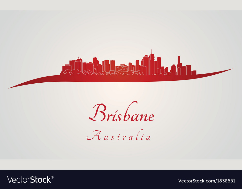 Brisbane skyline in red vector image