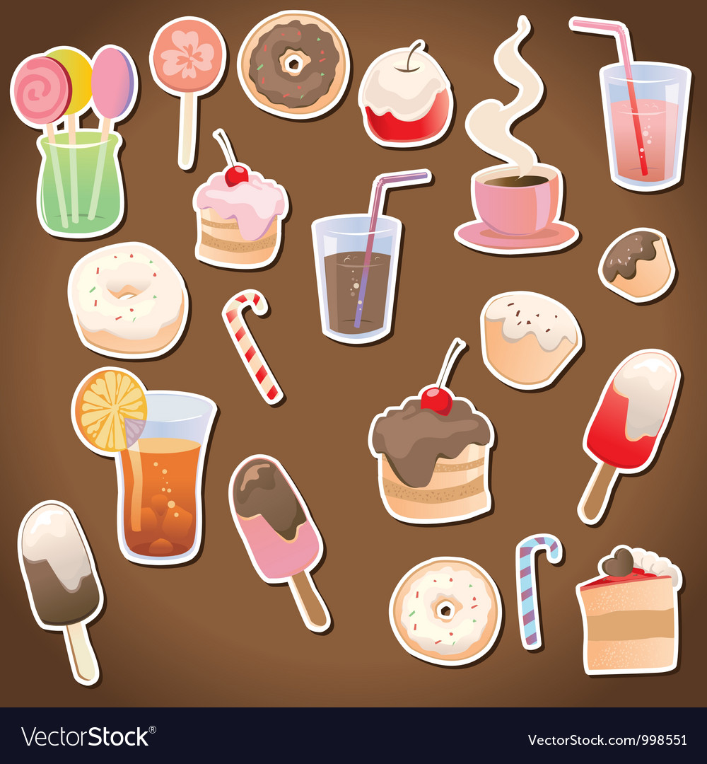 Set of dessert and drinks vector image