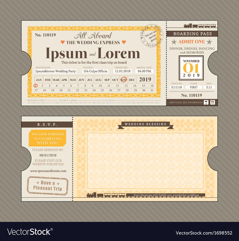 Train Ticket Wedding Invitation Design Template vector image