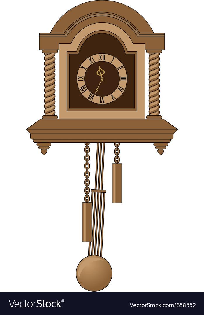 Antiquarian clock with a pendulum vector image