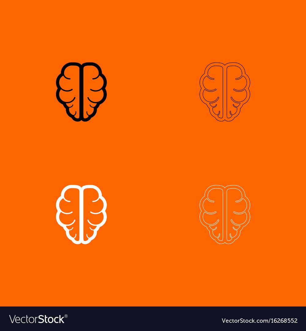 Brain black and white set icon vector image