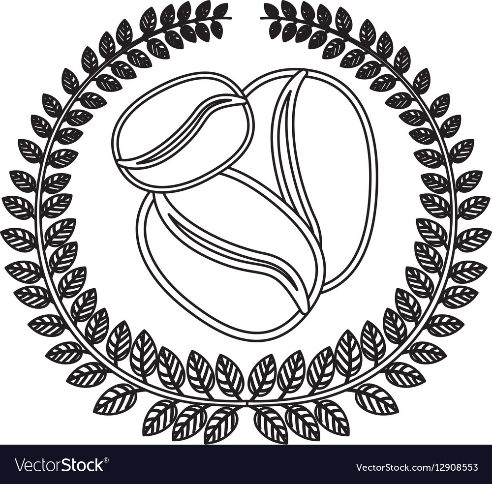 silhouette crown of leaves with coffee beans in vector image