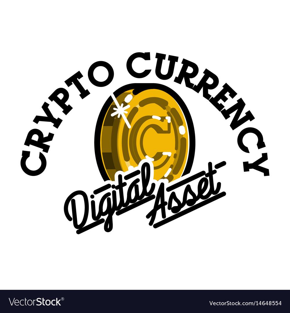 Color vintage cryptocurrency emblem vector image
