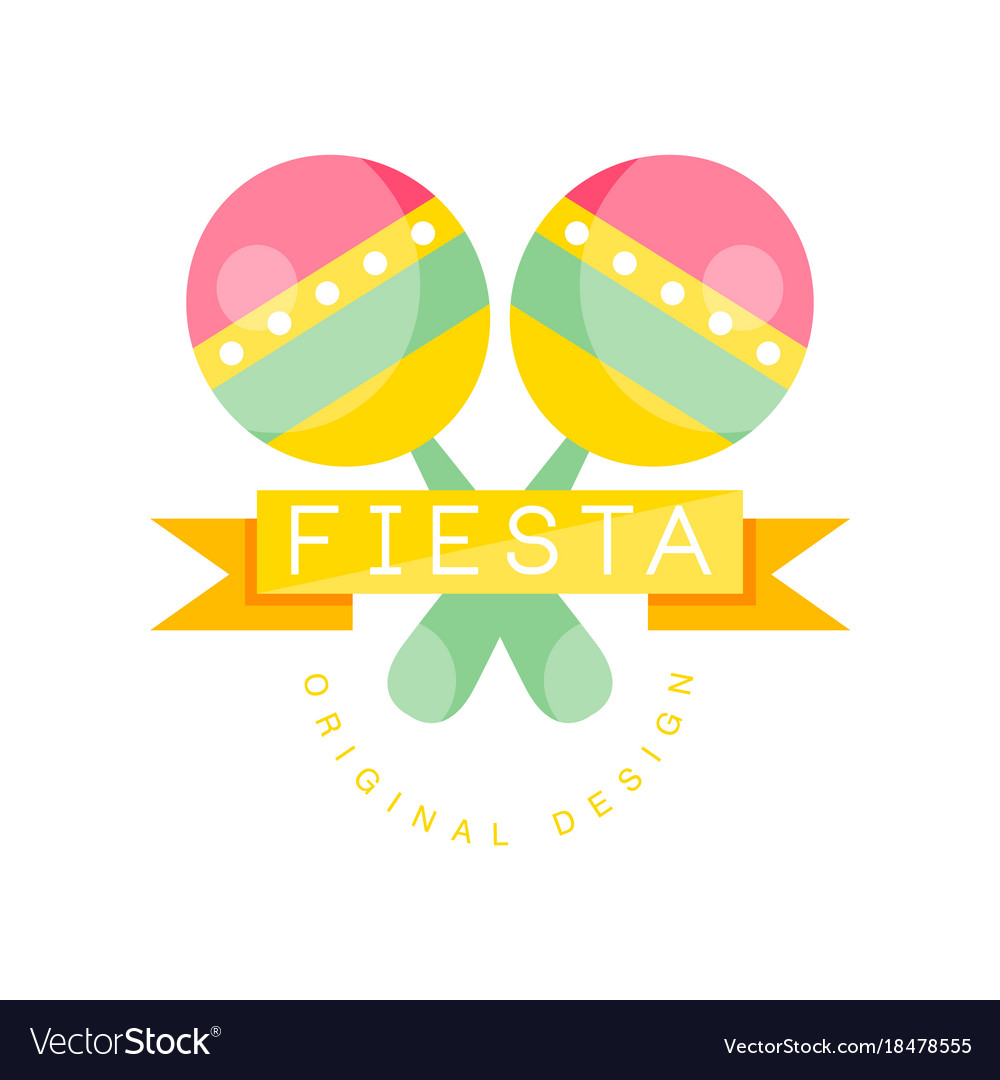 ... Fiesta original logo design colorful label with vector image on  VectorStock.