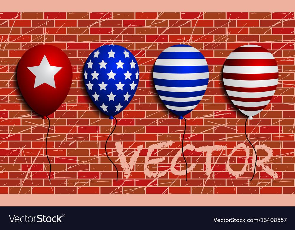 Balloons set sign brick wall as vector image
