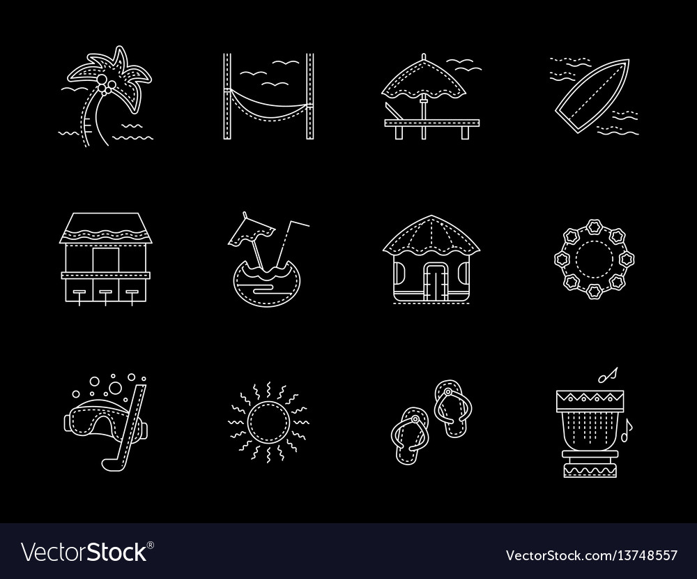 Hawaiian flat white line icons set vector image