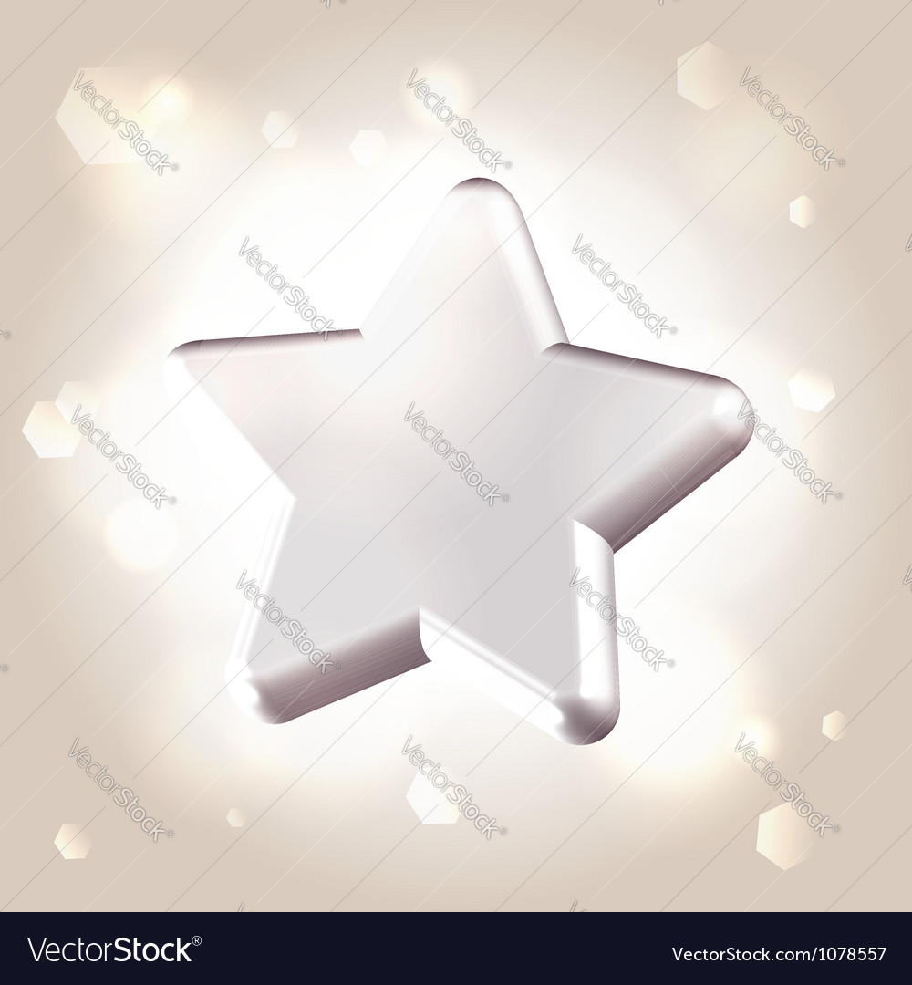 Silver metallic star prize vector image