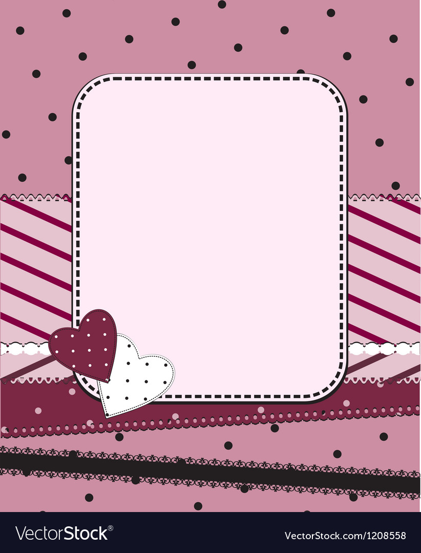 Pink frame with two hearts vector image