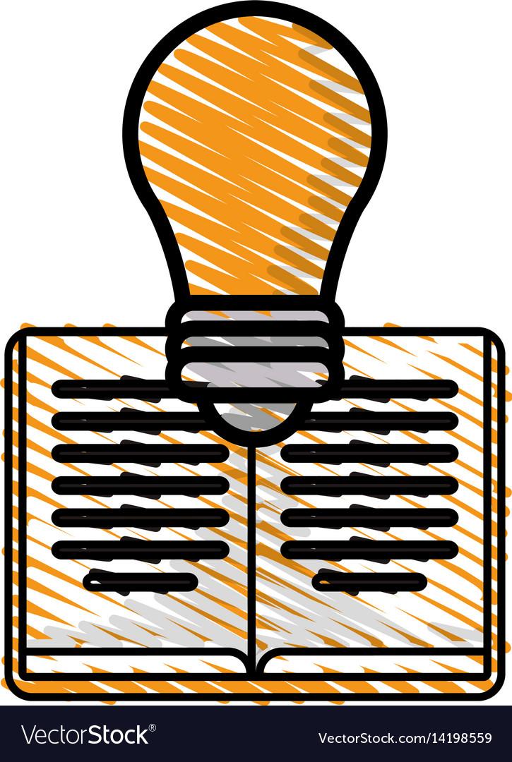 Drawing book bulb idea innovation vector image