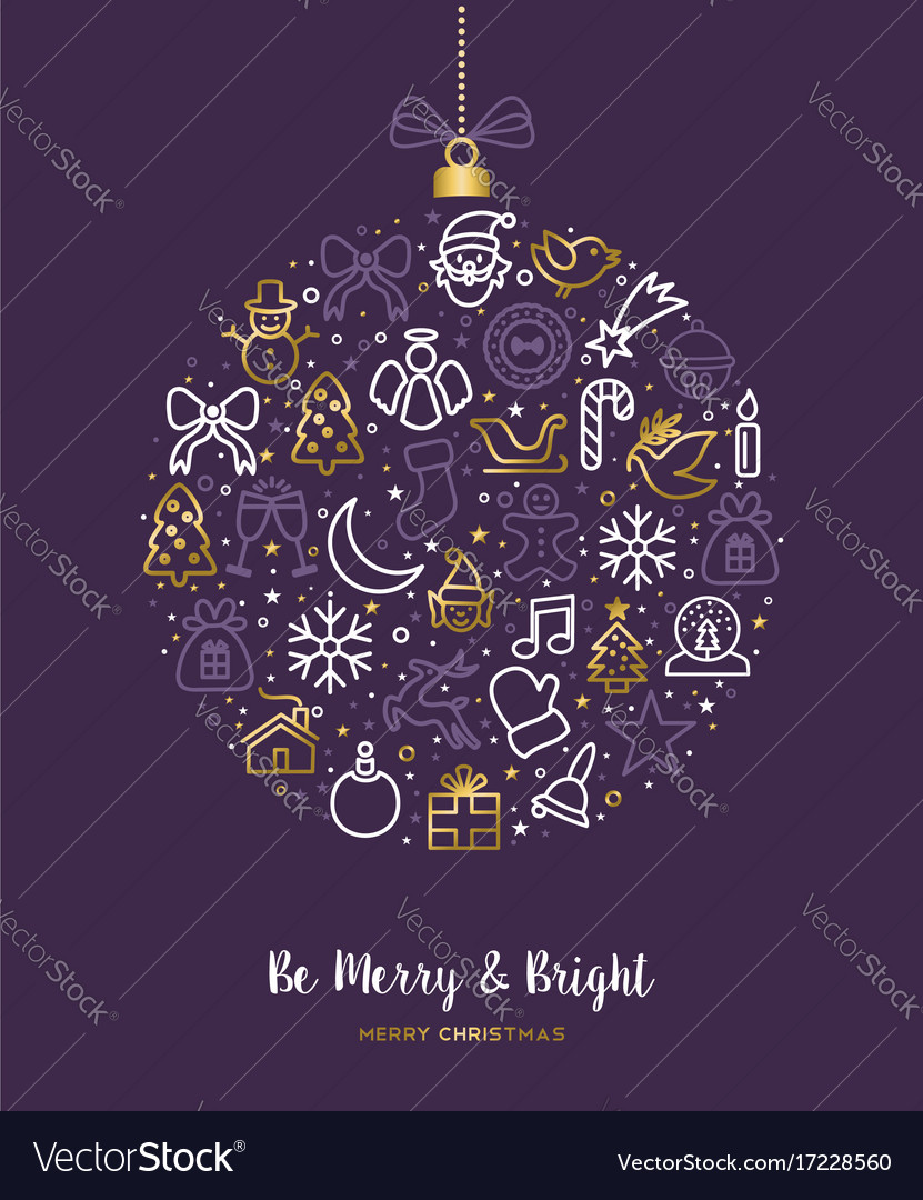 Christmas outline gold icon ornament card design vector image
