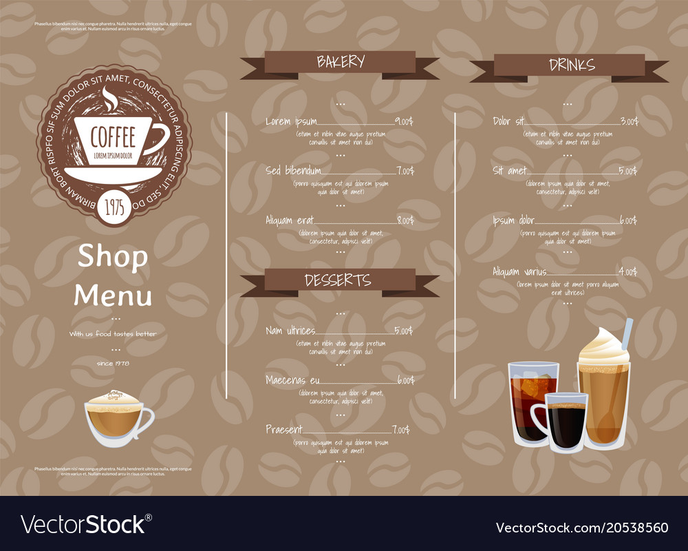horizontal menu templates free download - coffee shop horizontal menu template royalty free vector