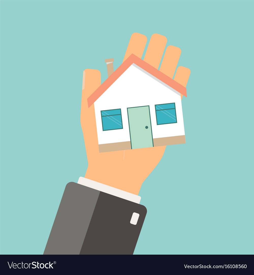 Real estate concept agent holding home buing vector image